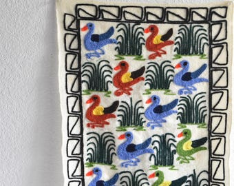south american multicolored wall hanging bird textile embroidery / peruvian