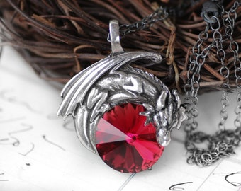Dragon Necklace Ruby Red Swarovski Crystal Dragon Necklace - Pewter Pendant and Sterling Silver Pendant