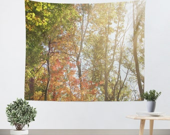 Nature Tapestry Wall Hanging Autumn Light 1 Modern Photography Unique home decor forest orange yellow green trees brown branches earth tones