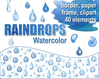 Digital Watercolor raindrops Clipart, Border, Frame, Paper, printable Digital Scrapbooking, drops Digital Collage, Instant Download, clip 15