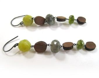 yellow jade, labradorite, peridot, & wood dangle earrings