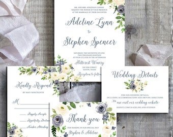 Wedding Invitation Template, Wedding Invitation Printable, Dusty Blue Wedding Invitation, Cream Wedding Invitation, Wedding Invitation Set