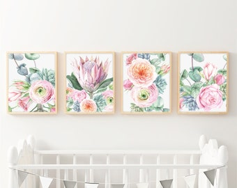 Protea Print Printable Watercolor Art U2013 Protea Flower For Nursery Floral  Wall Decor Prints For Baby Girls Room Wall Art Set Of 4