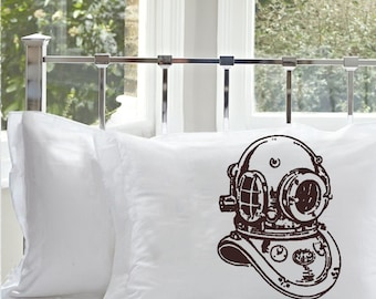 Brown Old Vintage Deep Sea Diver Helmet Diver's White Nautical Pillowcase pillow cover