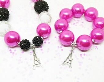 Girls Paris Eiffel Tower chunky bubblegum necklace bracelet jewelry set