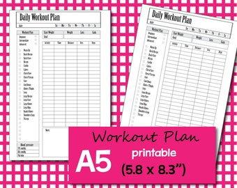 workout journal, A5 Planner Inserts, ftness Journal, fitness Planner, workout plan, Weight Loss Journal,  A5 printable - Instant Download