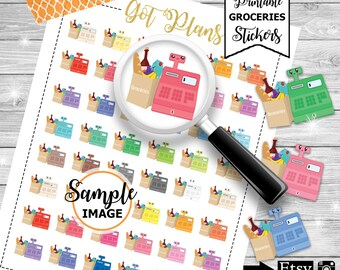 Grocery Stickers, Grocery Planner Stickers, Printable Stickers, Shopping Stickers, Item Planner Stickers, Agenda Stickers