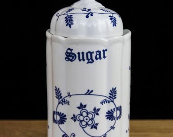 Retro TC Blue and White Large Sugar Container/Canister with Lid