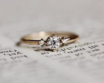 "14K ""Put A Ring On It"" Diamond Ring, Side Diamond Ring, Engagement Ring, Minimal Jewelry, Three Stone Ring, Gold Ring, Boho, Bride"