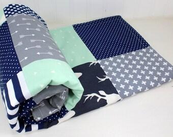 Woodland Nursery Baby Blanket Baby Boy Nursery Decor Minky Baby Blanket Baby Quilt Baby Shower Gift Navy Blue Grey Gray Mint Deer Arrow