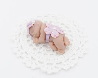 Tiny Baby CupcakeTopper Baby 2 in. with Lavender Headband, Diaper, White Blanket