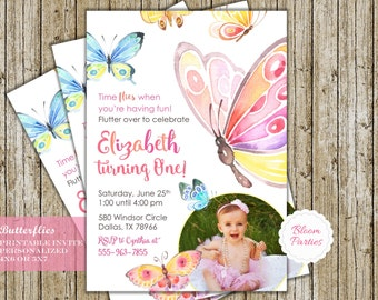 Butterfly Birthday Invitation Time Flies First Birthday 1st Birthday Butterfly Birthday Party Digital Printable Invites