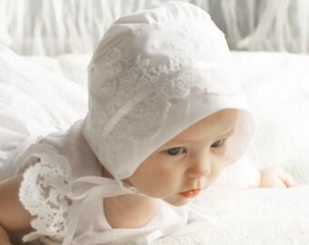 Baby bonnet, lace bonnet,toddler bonnet baptism bonnet 100% cotton