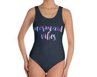 Mermaid Vibes Swimsuit - Mermaid Vibes Apparel - Mermaid Vibes Bathing Suit - Mermaid Bathing Suit - Little Mermaid Bathing Sut