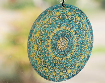 Turquoise Mandala Suncatcher - Geometric Design - Bohemian Home Decor - Made From Recycled Materials