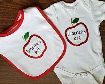 Teacher's Pet Teacher Baby Shower Apple Themed Baby Bodysuit, Bib, or Set: funny baby bodysuit, pregnant teacher gift
