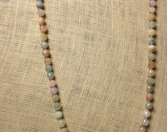 faceted aquamarine beaded necklace