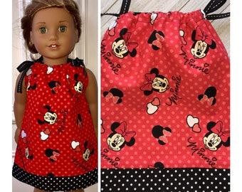 "18"" Doll Clothes / Doll Pillowcase Dress / American Girl Dress / Disney Minnie"