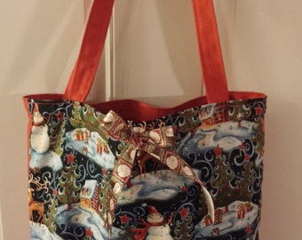 Red Snowman Tote Bag