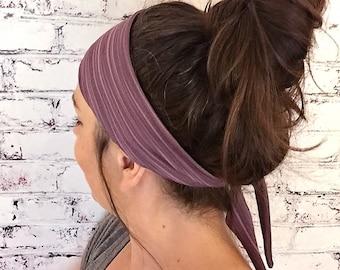 Boysenberry Bamboo Stripes - Eco Friendly Yoga Headband