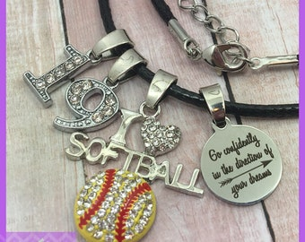Personalized Softball Gifts - End of Season - Graduation - Senior Night, Softball Necklace, Go Confidently in the Direction of Your, I Heart