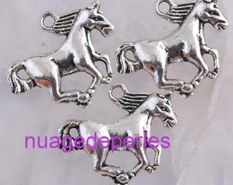 3 horse Tibetan Silver Horse pendant charms