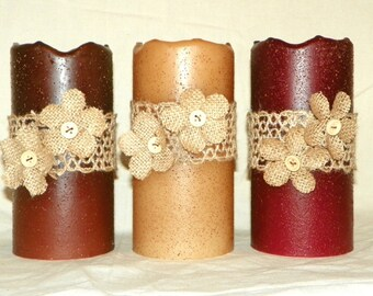 Flameless LED Candle, Burlap Ribbon and Flowers on a 6 Inch Primitive Textured TIMER PILLAR Candles, Battery Operated