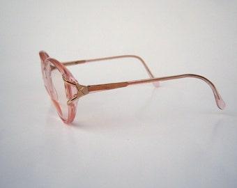 80s eyeglasses / Crystal Pink by Marchon/ large round eyeglasses / clear plastic, womens eyeglasses sunglasses