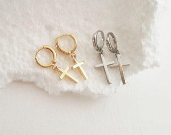 Gold Cross Earrings, Silver Cross Hoop Earrings, X Earrings, Earrings with Cross, Rock Earrings, Baptism Cross, Gold Minimal Earrings / E519