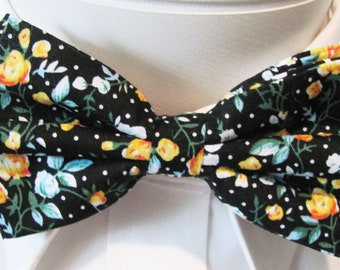 Gold And Blue Cotton With Delicate Floral Pattern Of White On Black