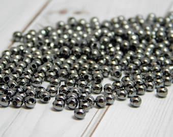 250 or 500pcs - 3mm Gunmetal Spacers - Gunmetal Beads - Gunmetal Spacer Beads - Gunmetal Round Beads - 3mm Spacer Beads - (4107)