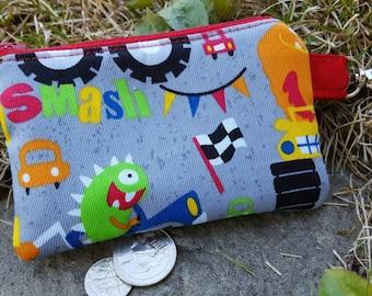 Monster Truck Purse, Monster Zipper Wallet, Ear Bud Pouch, Boy's Coin Purse, Kids Wallet