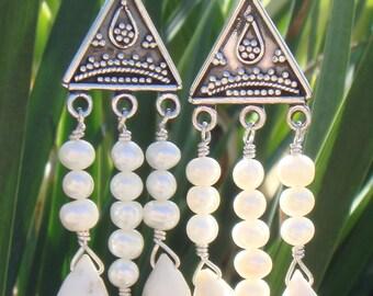 Dendritic Opal Dangle Earrings, Opal and Pearl Earrings, White Gemstone, White Dendritic Opal, Chandelier Earrings, Pierced Drop Earrings