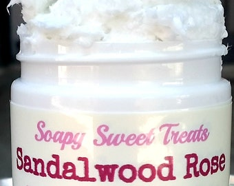 Sandalwood Rose - Whipped Shea Butter - Handmade - 4 oz. Jar - Body Butter - Whipped Lotion - Peony - Jasmine - Patchouli - Moisturizer