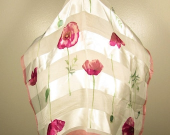 Pink Poppy Floral Scarf - Adrienne Vittadini Sheer Square