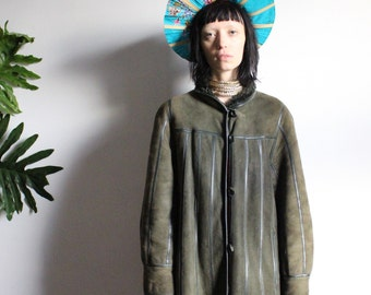 Olive Shearling Duster Coat