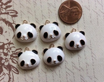 SET of 5 Black White Enamel Gold Plated Panda Head Pendants Animal Charms