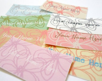 80 Custom Fabric Labels Cotton Sew On Precut - Funky Flowers