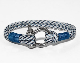 Nautical Paracord Bracelet with Shackle - Arctic Digital and Blue