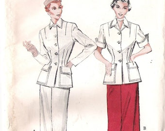 Butterick 5612 UNCUT 1950s Spectator Suit Dress Vintage Sewing Pattern Size 18 Bust 36 Slim Skirt Tailored Jacket