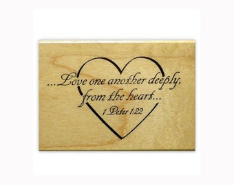 Love one another deeply mounted rubber stamp wedding, Christian bible verse, wedding, scripture in heart, Sweet Grass Stamps No.3