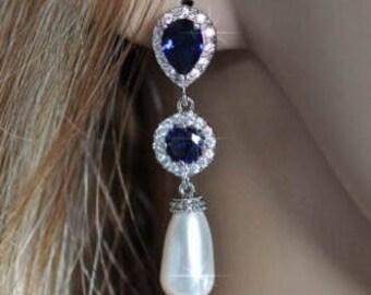 Handmade Sapphire Blue Cubic Zirconia CZ and Pearl Dangle Bridal Earrings, Bridal, Wedding (Pearl-523)
