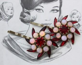 ruby red vintage bridal hair pins bridal accessories wedding headpiece siam red gold hair pin hair piece crystal rhinestone bridesmaid