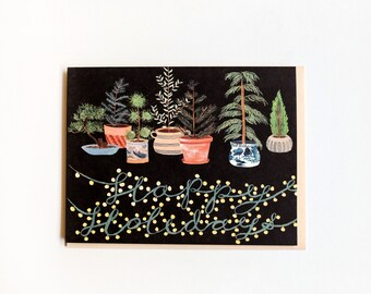 Potted Evergreens Holidays Card / Set of 8
