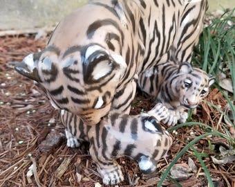 "Royal Copenhagen Tiger with Cubs Figure Designed by Jeanne Grut #4687 Mint 10.25"" x 6"" Rare"