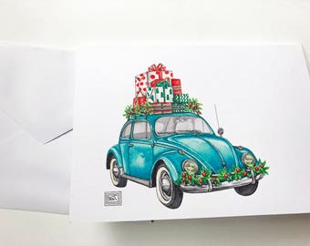 Christmas VW bug printed watercolor cards, set of 8 cards greeting cards, christmas cards, holiday watercolor cards, volkswagen vw beetle