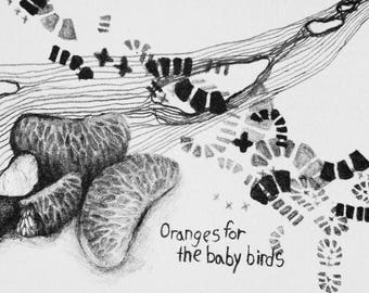 Oranges for the Baby Birds, Original, hand-pulled, stone lithograph