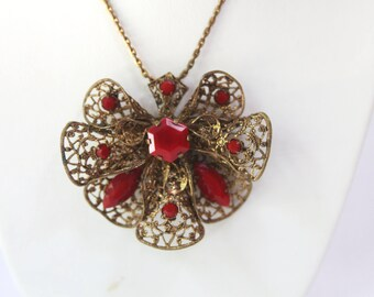 Vintage Necklace, Czechoslovakia 1930's Art Deco Filigree Metalwork with Red Stones.
