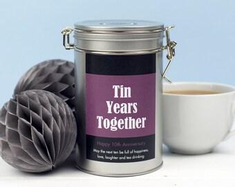 Tin Anniversary Gift - Tea Lovers Gift - Novelty Tea Personalised Gift - 10th Anniversary Gift