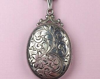 Birks Floral Locket | Sterling Silver | Large Locket | Vintage
